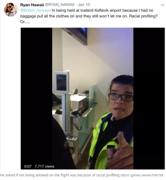 Man boarding plane claims racial profiling