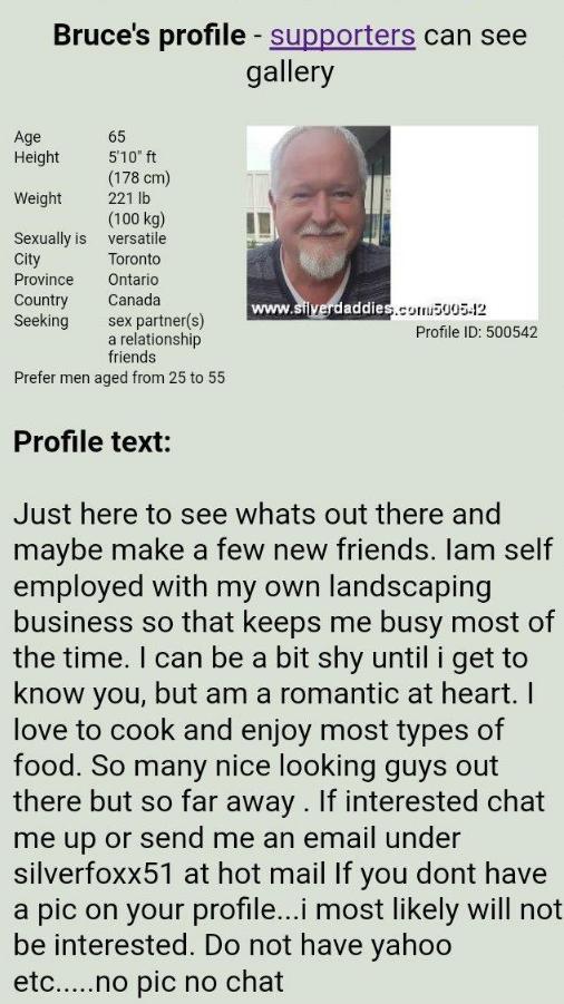 Bruce McArthur Dating Profile