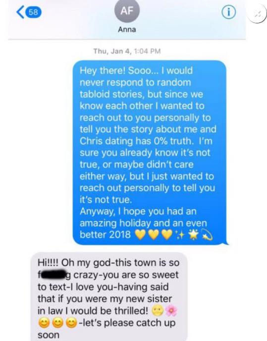 Olivia Munn text message to Anna Faris about dating Chris Pratt