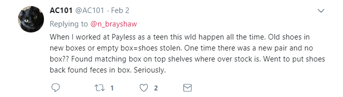 used shoes with feces in box